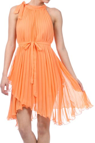 Asymmetrical Hem Pleated Short Sleeveless Dress in Semi-Opaque Solid Colours ( 7 Colours )
