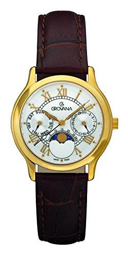 GROVANA - 3025.1513 - Montre Mixte - Quartz - Analogique - moon age display - Bracelet Cuir marron