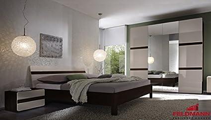 Schlafzimmer 540111 komplett 4-teilig sonoma eiche dunkel / sandgrau Hochglanz