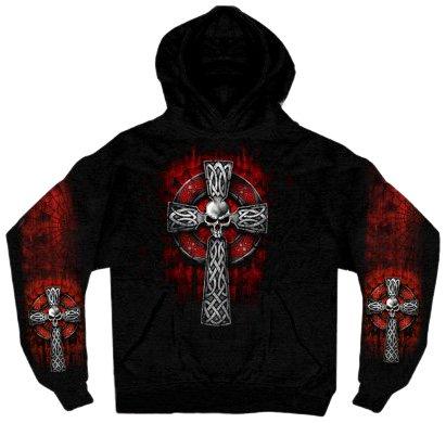 Hot Leathers Celtic Cross Pocket Hoodie (Black, Large)