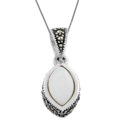 Sterling Silver Mother of Pearl Almond Necklace