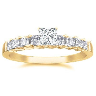 0.60 Carat Cheap Engagement Ring for Women with Princess cut Diamond on 14K Yellow gold
