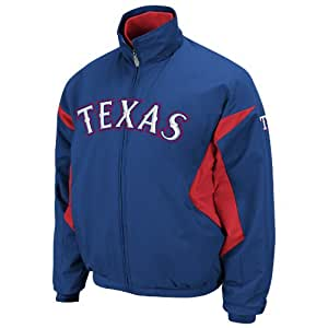 MLB Majestic Texas Rangers Royal Blue-Red Therma Base Triple Peak Premier Full Zip Performance Jacket (XXXX-Large)