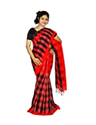 ABSTRA Women's Red And Black Cotton With Silk Thread Handloom Tant Saree