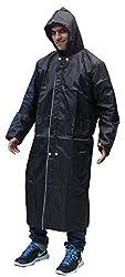 Romano Reversible Black/Silver Hooded Rain Overcoat For Men