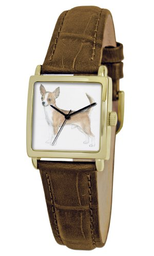 American Kennel Club Women's D1750S011 Chihuahuas Gold-Tone Brown Leather Watch