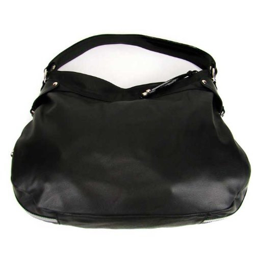 CAVALCANTI Italian Black Calf Leather Designer Large Hobo Shoulder Bag
