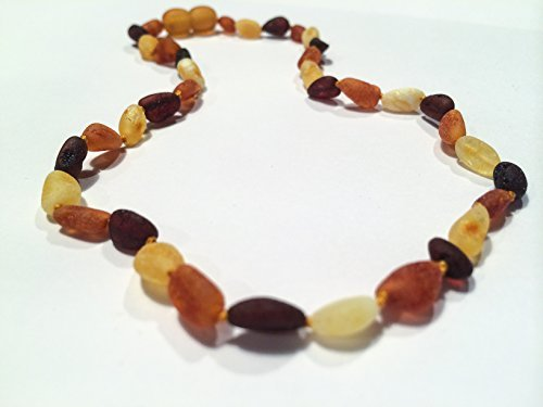 Baltic Amber Teething Necklace for Babies (Unisex) - Multi Cherry Cognac Lemon Milk Butter Raw Unpolished Anti Flammatory, Drooling & Teething Pain Reduce Properties - Certificated Natural Oval Baltic Jewelry with the Highest Quality Guaranteed. Easy to Fastens with a Twist-in Screw Clasp Mothers Approved Remedies! Soothing Calming Acid Reflux Baby Toddler Fever Red Cheeks - 1
