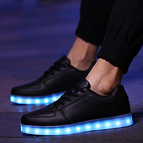 DoGeek Unisex Hombres Mujeres 7 Colores Light Up LED Zapatos Blanco Negro (Elegir 1 Tamaño Más Grande) (44 EU, 1 Blanco)