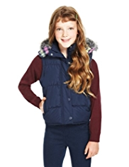 Shower Resistant Hooded Faux Fur Trim Gilet