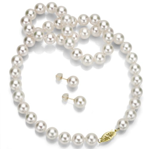 14k Yellow Gold 7-7.5mm White Japanese Saltwater Akoya AAA Pearl Necklace 18″ and Stud Earring Set