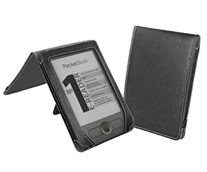 Cover-Up PocketBook Basic 611 eReader Leather (Flip Stand) Cover Case - Black at Electronic-Readers.com