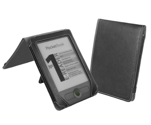 Cover-Up PocketBook Basic 611 eReader Leather (Flip Stand) Cover Case - Black at Electronic-Readers.com