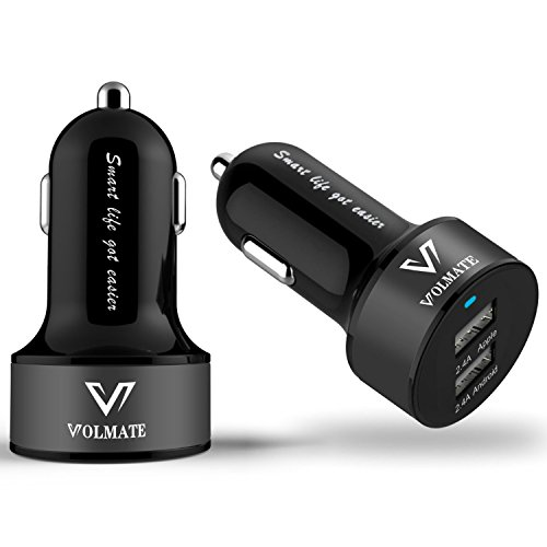 Volmate® Apple Certified - Lifetime Warranty - 4.8A / 24W Dual-Port USB Car Charger - Portable Travel Charger Rapid Car Charger For iPhone 6 5 5S 5C 4 4S, iPad 4 3 2,iPad mini, iPad air, iPad Mini Retina, iPad touch, iPod Nano; Samsung Galaxy S5, S4, S3, S2, Note 4 3, 2, Tab S 4, 3, 2 7.0 8.0 10.1; The All New HTC One M8 M7 M4, Mini 2; LG Optimus G3 G2, Flex, G2 Mini, G Pro 2, G Pad 7.0 8.0 8.3 10.1; Google Nexus 5 4 7 8 FHD 2; Other Android Smartphone/Tablets - Premium MFI Approved(Black+Black)