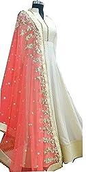 Adorn Mania Latest Bollywood Designer Cream White Banglori Silk Gown For Women's