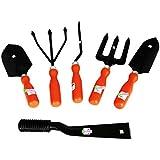 Easy Gardening - Garden Tools Kit (6Tools) Weeder,Trowel Big,Trowel Small,Cultivator,Fork, Khurpi