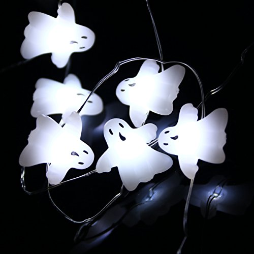 LEORX Halloween Lichterkette Led Geister Lichterkette Batteriebetrieben 3 Meters 40 LEDs
