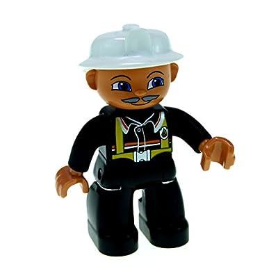 1 x Lego Duplo Figur Mann Hauptmann Feuerwehrmann schwarz Augen blau Helm weiss und Schnurrbart hell grau 47394pb061