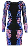 Womens Celeb Floral Print Long Sleeve Ladies Bodycon Dress