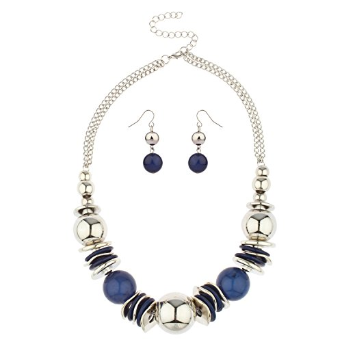 Lux Accessories Blue Stone Bead Disc Statement Necklace Beaded Earrings