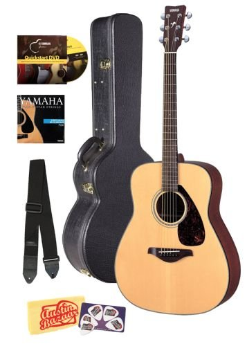Yamaha FG700S Folk Acoustic Guitar Bundle with Hard Case, Instructional DVD, Picks, Strap, Strings, Pick Card, and Polishing Cloth - Natural