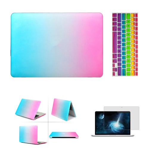 "Iclover 3 In 1 Laptop Rubberized Hard Cover Case Keyboard Skin For Apple 13.3"" Inch Macbook Air Frosted Matte Rubber Coated Rubberized See Thru Hard Snap On Case For Apple 13.3"" Inch Macbook Air - Silicone Protective Keyboard Skin Cover - Clear Lcd Screen front-587453"