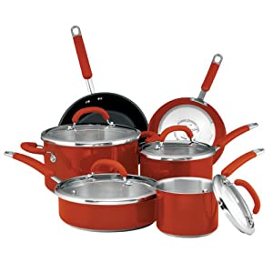 Rachael Ray 77559 Stainless Steel 10-Piece Cookware Set with Red Handles