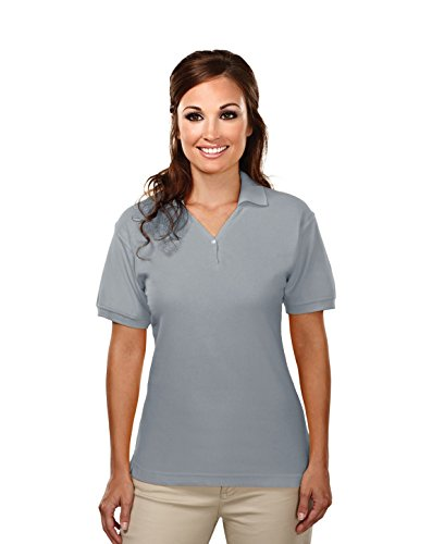 Tri-Mountain Womens Cotton Baby Pique Y-Neck Golf Shirt. 186 - Heather Gray_M front-815260