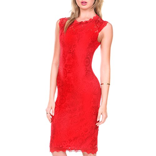 Stanzino Cocktail Dress Womens Sleeveless Lace Dresses for Special Occasions, Red, Medium