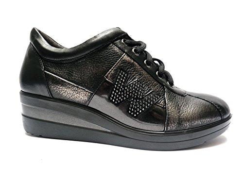 Melluso scarpe da donna linea comoda in pelle col. Nero/Piombo alt. zeppa cm. 4,5, n. 37