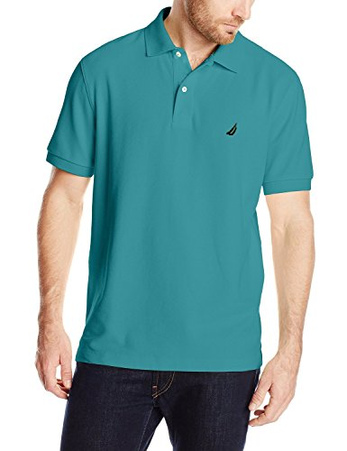 Nautica men 39 s short sleeve solid deck polo shirt teal for Mens teal polo shirt