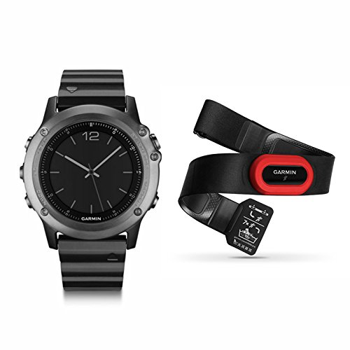 Garmin Fenix 3 Sapphire Multisport Training GPS/GLONASS Watch Performer Bundle with HRM-RUN Heart Rate Monitor (Metal Band red)
