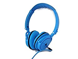 Powerful Bass Jumbo Padding Blue Neon Headphones with Built-in Mic, Noise Isolation, Compatible with All Devices