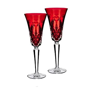 """Waterford I Love Lismore """"Red"""" Flute, Pair"""