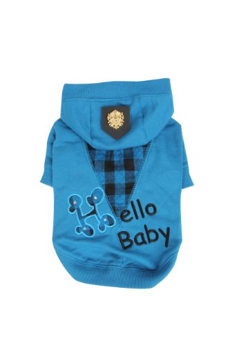 Puppia Hello Baby Hoodie, Large, Blue front-1056538