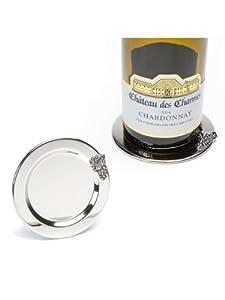 "Set of 2 Pieces 4"" Metal Silver Grape Vine Bunch Motif Wine Coasters"