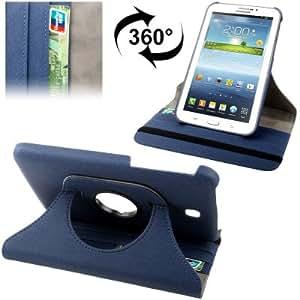 Crazy4Gadget 360 Degrees Rotation Denim Texture Leather Case with Holder & Credit Card Slots for Samsung Galaxy Tab 3 (7.0) / P3200, Dark Blue (Dark Blue)