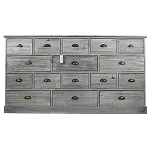 meuble semainier chiffonnier grainetier bois 15 tiroirs ceruse blanc gris 170x35x92cm. Black Bedroom Furniture Sets. Home Design Ideas