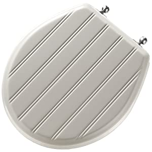 Mayfair 29CP 000 Cottage Classic Sculptured Molded Wood Toilet Seat with Chrome Hinges, Round, White