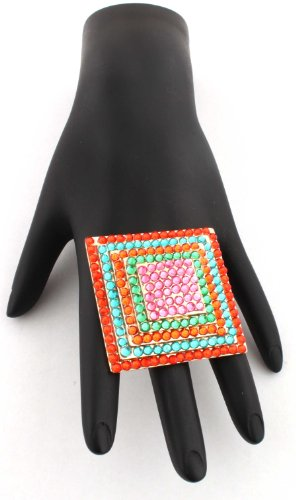 Poparazzi Gold with Multicolors Iced Out Square Layers Stretch Finger Ring One Size Fits All Basketball Wives