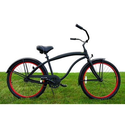 Men's Single Speed Aluminum Beach Cruiser Frame Color: Flat Black with Red Wheels