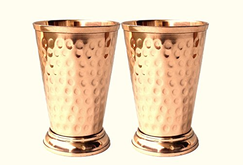 BLUE NIGHT Hammered Copper Mint Julep Cup/Hammered Copper Moscow Mule Mint Julep Cup 100% pure copper,handcrafted without doted, Capacity- 12 oz. Set of - 2