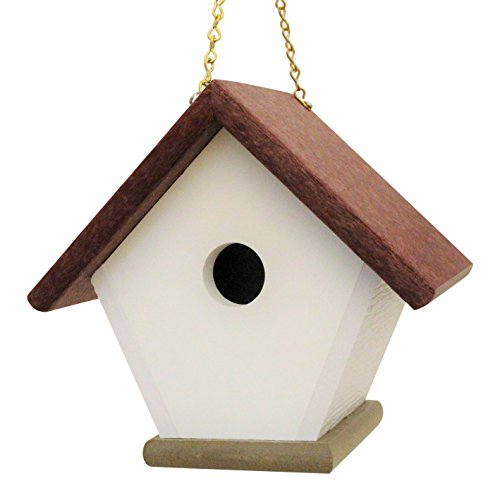 Hanging Wren Bird House Handmade from Eco Friendly Recycled Plastic Materials (Cherry/Weatherwood) (Handmade Bird Houses compare prices)