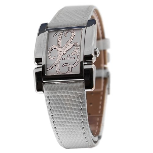 Milus Apiana API-015 Stainless Steel Case White Calfskin Band Anti-Reflective Sapphire Women's Watch