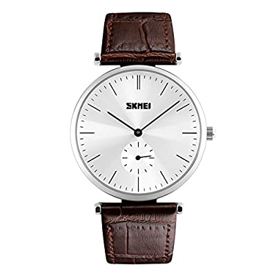 Mens Unique Analog Quartz Waterproof Business Casual Leather Band Dress Wrist Watch Minute Dial with Special Lug Design, Key Scrath Resitant Face, 98FT 30M 3ATM Water Resistant - Silver