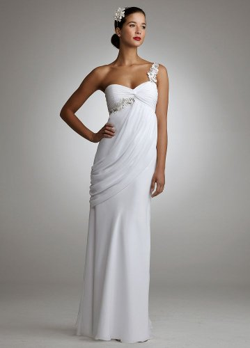 David's Bridal One Shoulder Chiffon Gown with Side Drape Style
