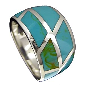 925 Sterling Silver Tapered Reconstituted Turquoise Ring--Hawaiian Silver Jewelry