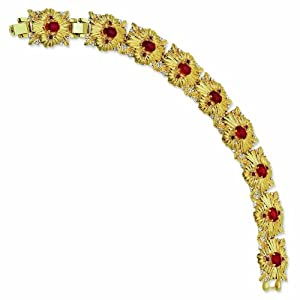 Gold-plated Swarovski Crystal Red Sunburst 7In with 1In extension Bracelet