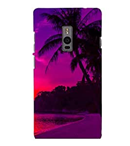 printtech Sunset Beach Palm Trees Back Case Cover for One Plus Two ::One Plus2