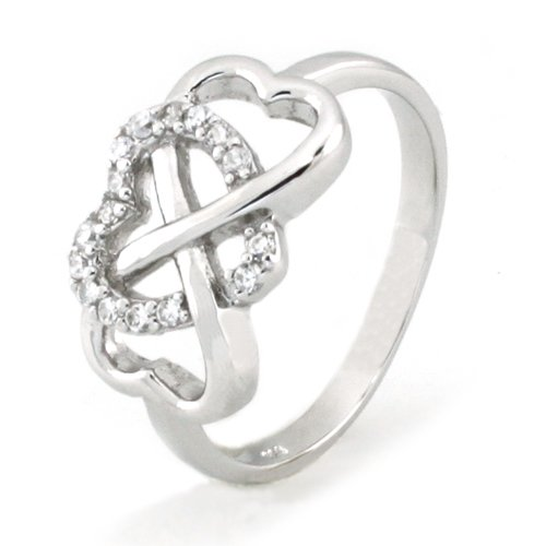 925 Sterling Silver Heart Graduation Infinity Promise Ring w/ Cubic Zirconia (Size 7.5) Available Size: 5, 5.5, 6, 6.5, 7, 7.5, 8